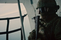 Mexican navy soldier searching for poaching vessels in the Sea of Cortez